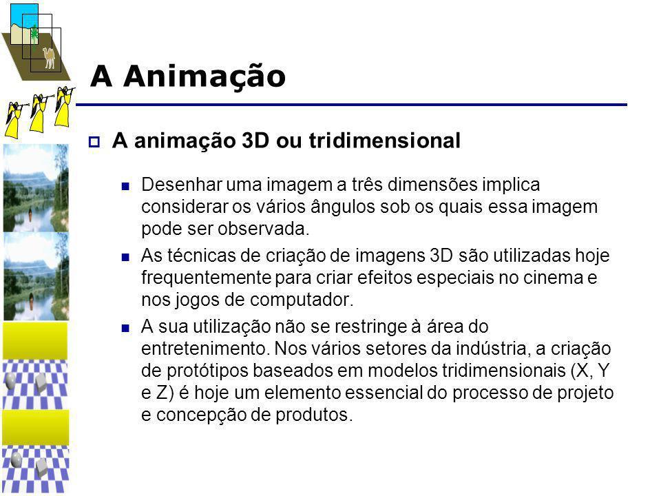 A Animação  A animação 3D ou tridimensional  Desenhar uma imagem a três dimensões implica considerar os vários ângulos sob os quais essa imagem pode