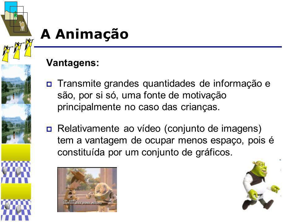 A Animação Vantagens:  Transmite grandes quantidades de informação e são, por si só, uma fonte de motivação principalmente no caso das crianças.