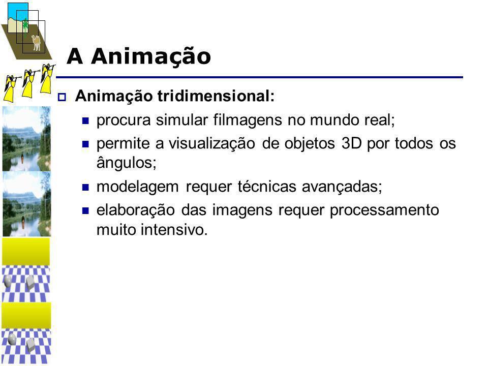 A Animação  Animação tridimensional:  procura simular filmagens no mundo real;  permite a visualização de objetos 3D por todos os ângulos;  modelagem requer técnicas avançadas;  elaboração das imagens requer processamento muito intensivo.