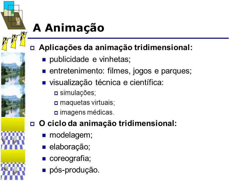 A Animação  Aplicações da animação tridimensional:  publicidade e vinhetas;  entretenimento: filmes, jogos e parques;  visualização técnica e cien