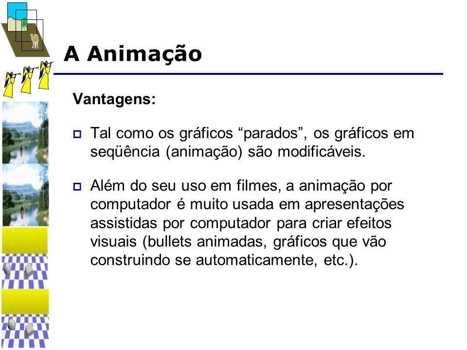 """A Animação Vantagens:  Tal como os gráficos """"parados"""", os gráficos em seqüência (animação) são modificáveis.  Além do seu uso em filmes, a animação"""