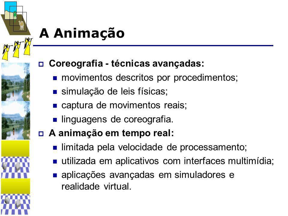 A Animação  Coreografia - técnicas avançadas:  movimentos descritos por procedimentos;  simulação de leis físicas;  captura de movimentos reais;  linguagens de coreografia.