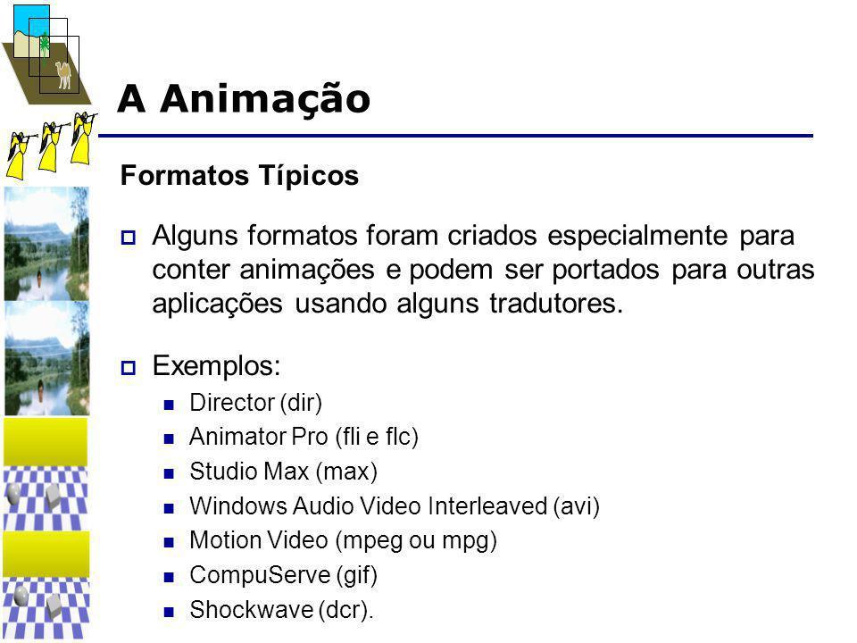 A Animação Formatos Típicos  Alguns formatos foram criados especialmente para conter animações e podem ser portados para outras aplicações usando alguns tradutores.