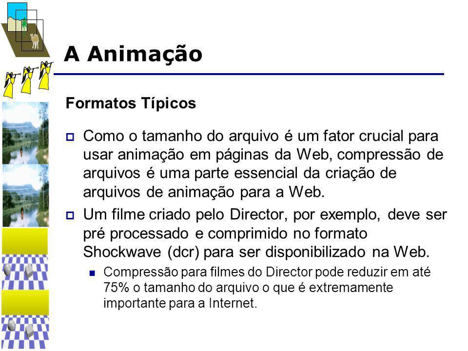 A Animação Formatos Típicos  Como o tamanho do arquivo é um fator crucial para usar animação em páginas da Web, compressão de arquivos é uma parte essencial da criação de arquivos de animação para a Web.