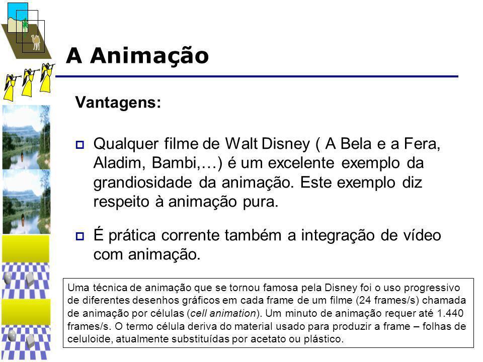A Animação Vantagens:  Qualquer filme de Walt Disney ( A Bela e a Fera, Aladim, Bambi,…) é um excelente exemplo da grandiosidade da animação. Este ex