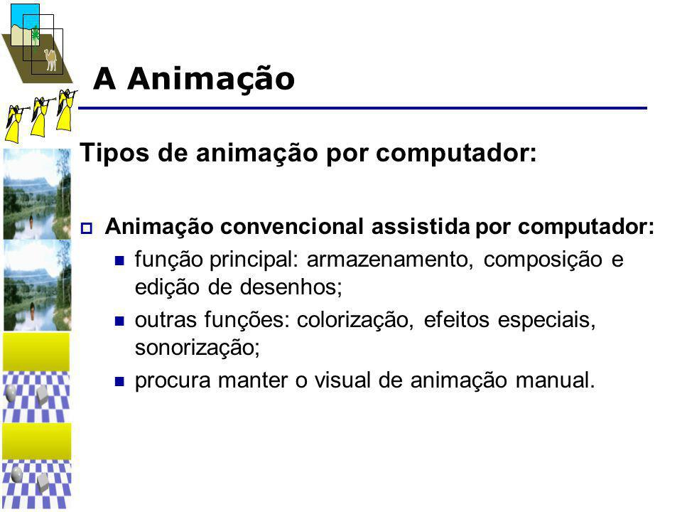 A Animação Tipos de animação por computador:  Animação convencional assistida por computador:  função principal: armazenamento, composição e edição de desenhos;  outras funções: colorização, efeitos especiais, sonorização;  procura manter o visual de animação manual.