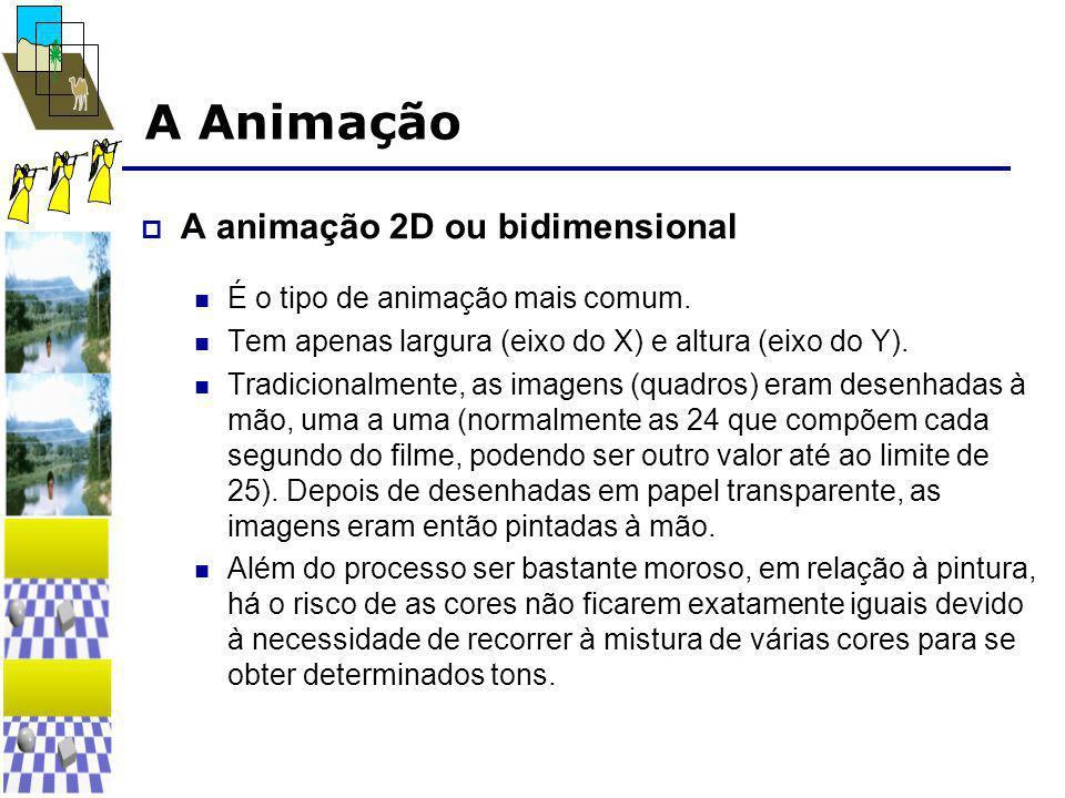 A Animação  A animação 2D ou bidimensional  É o tipo de animação mais comum.  Tem apenas largura (eixo do X) e altura (eixo do Y).  Tradicionalmen