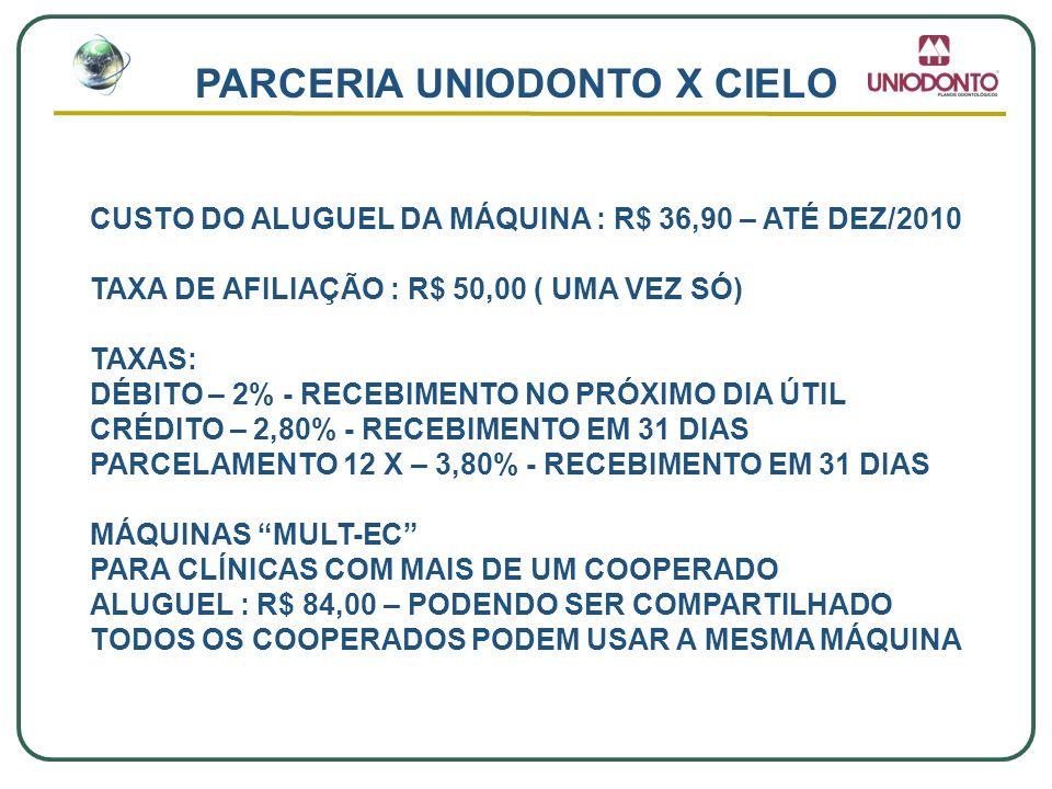PARCERIA UNIODONTO X CIELO CUSTO DO ALUGUEL DA MÁQUINA : R$ 36,90 – ATÉ DEZ/2010 TAXA DE AFILIAÇÃO : R$ 50,00 ( UMA VEZ SÓ) TAXAS: DÉBITO – 2% - RECEB