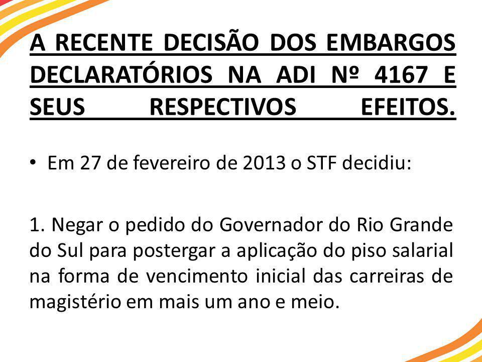 A RECENTE DECISÃO DOS EMBARGOS DECLARATÓRIOS NA ADI Nº 4167 E SEUS RESPECTIVOS EFEITOS.