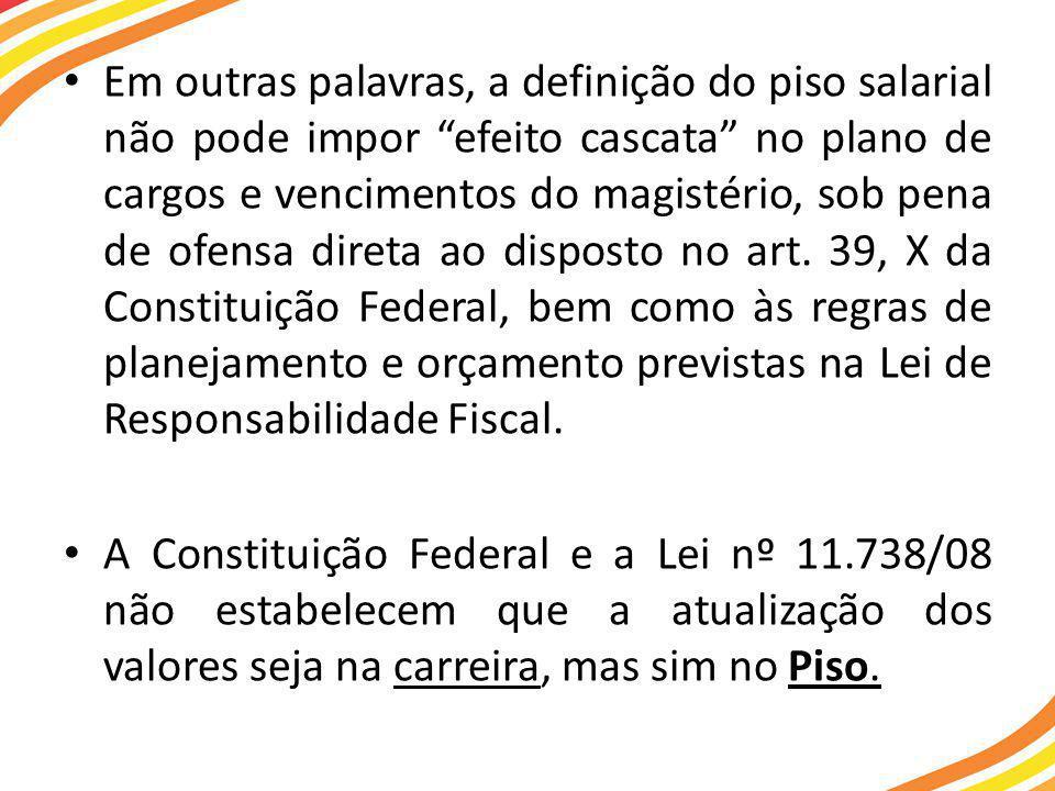• Em outras palavras, a definição do piso salarial não pode impor efeito cascata no plano de cargos e vencimentos do magistério, sob pena de ofensa direta ao disposto no art.