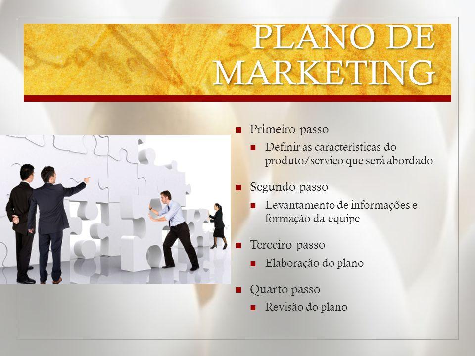 PLANO DE MARKETING  Primeiro passo  Definir as características do produto/serviço que será abordado  Segundo passo  Levantamento de informações e