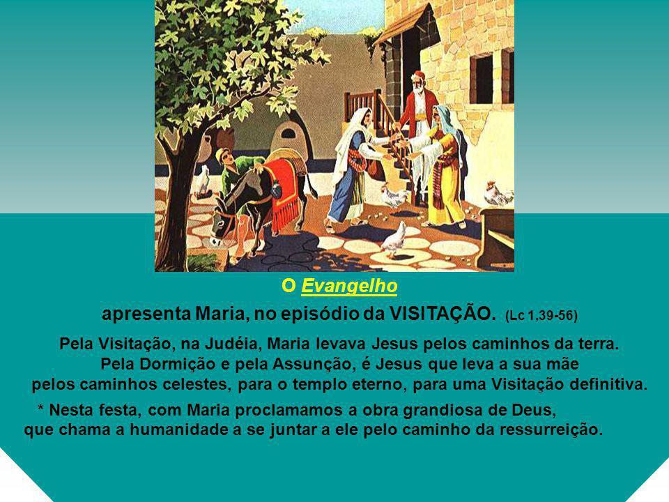 O Evangelho apresenta Maria, no episódio da VISITAÇÃO.