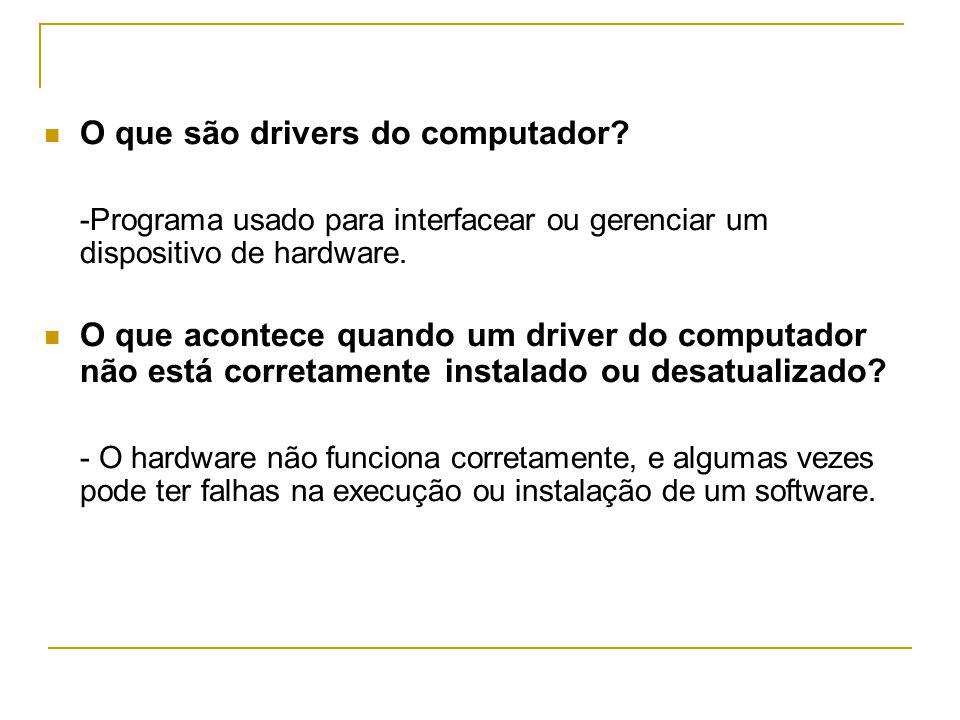  O que são drivers do computador.