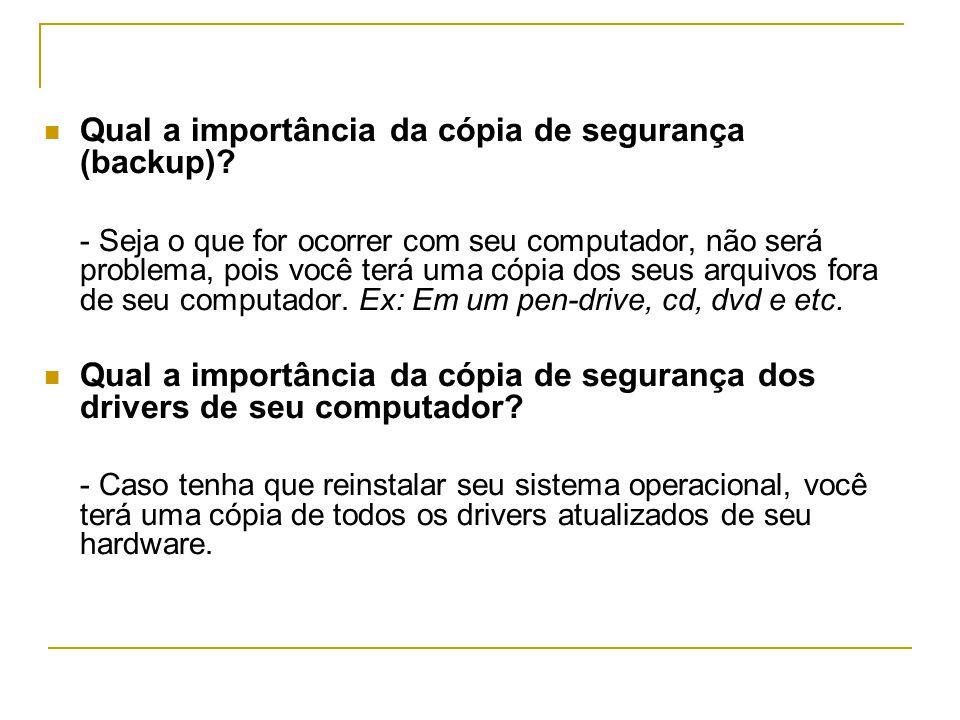  Qual a importância da cópia de segurança (backup).