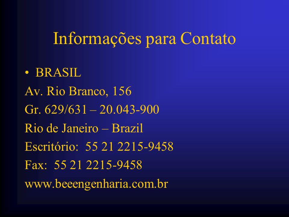 Informações para Contato •BRASIL Av. Rio Branco, 156 Gr. 629/631 – 20.043-900 Rio de Janeiro – Brazil Escritório: 55 21 2215-9458 Fax: 55 21 2215-9458