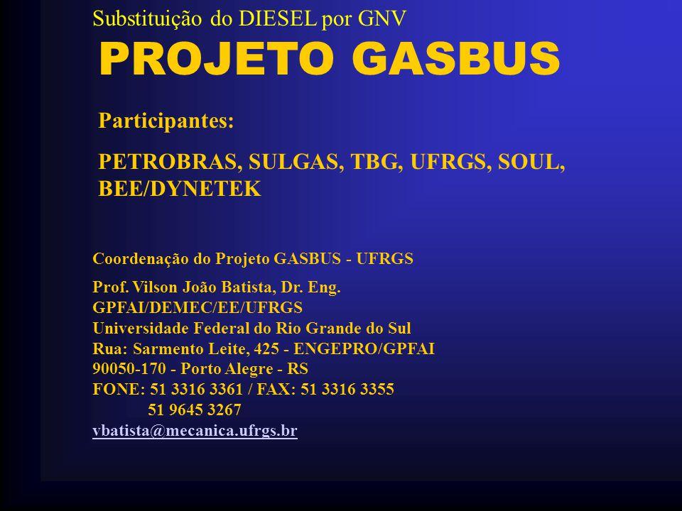 PROJETO GASBUS Coordenação do Projeto GASBUS - UFRGS Prof. Vilson João Batista, Dr. Eng. GPFAI/DEMEC/EE/UFRGS Universidade Federal do Rio Grande do Su