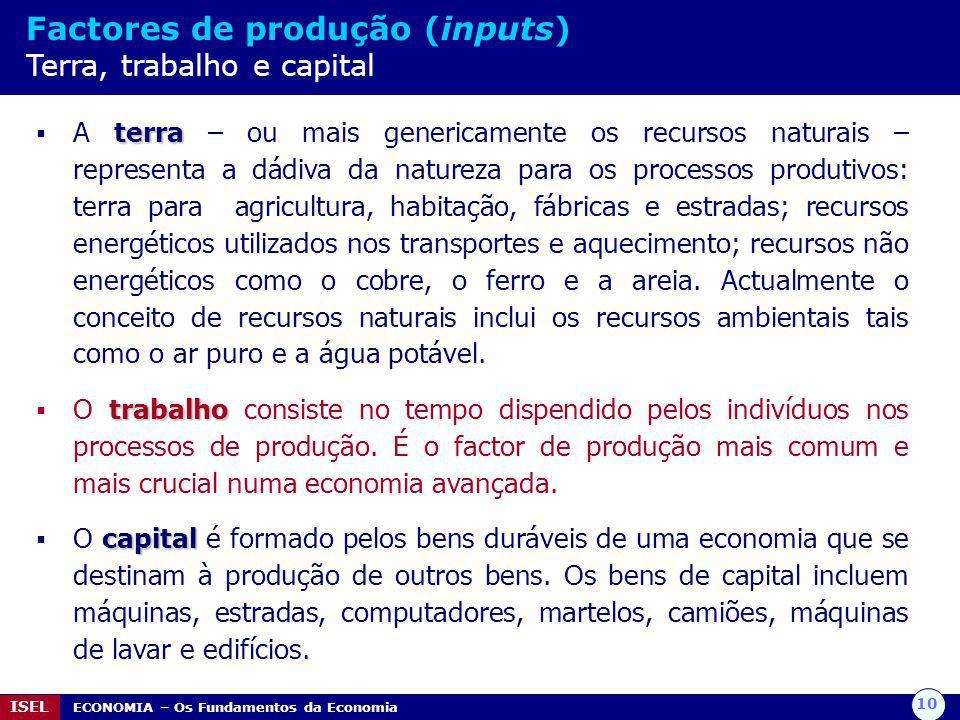 10 ISEL ECONOMIA – Os Fundamentos da Economia Factores de produção (inputs) Terra, trabalho e capital terra  A terra – ou mais genericamente os recur