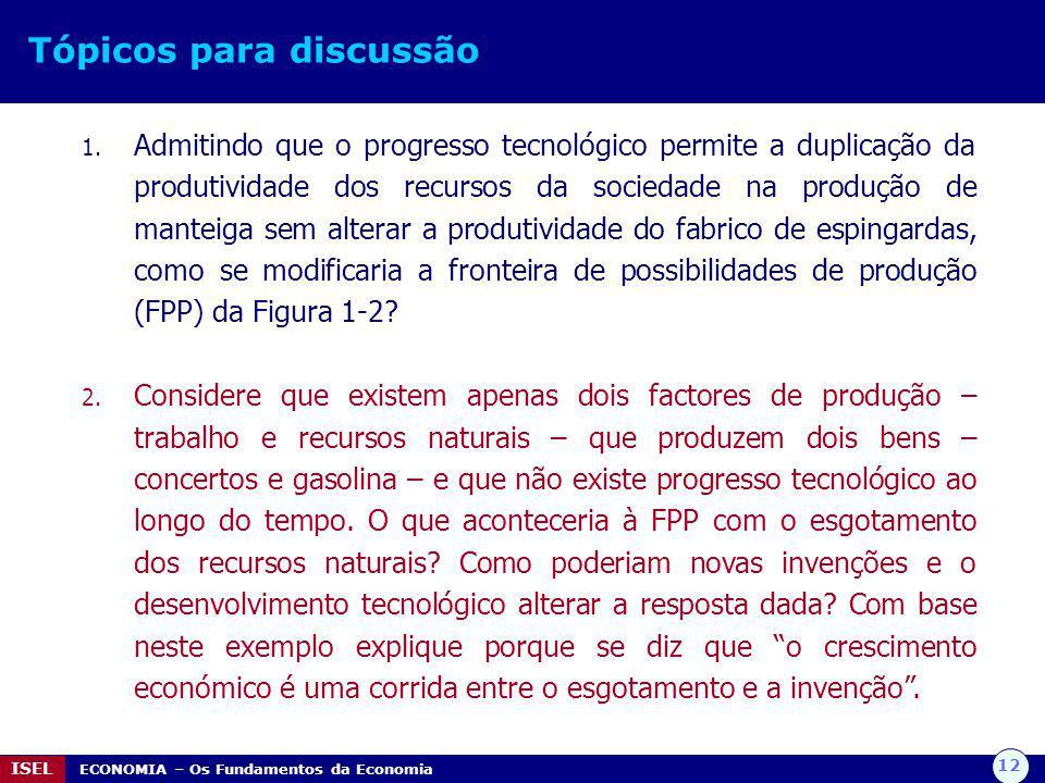12 ISEL ECONOMIA – Os Fundamentos da Economia Tópicos para discussão 1. Admitindo que o progresso tecnológico permite a duplicação da produtividade do