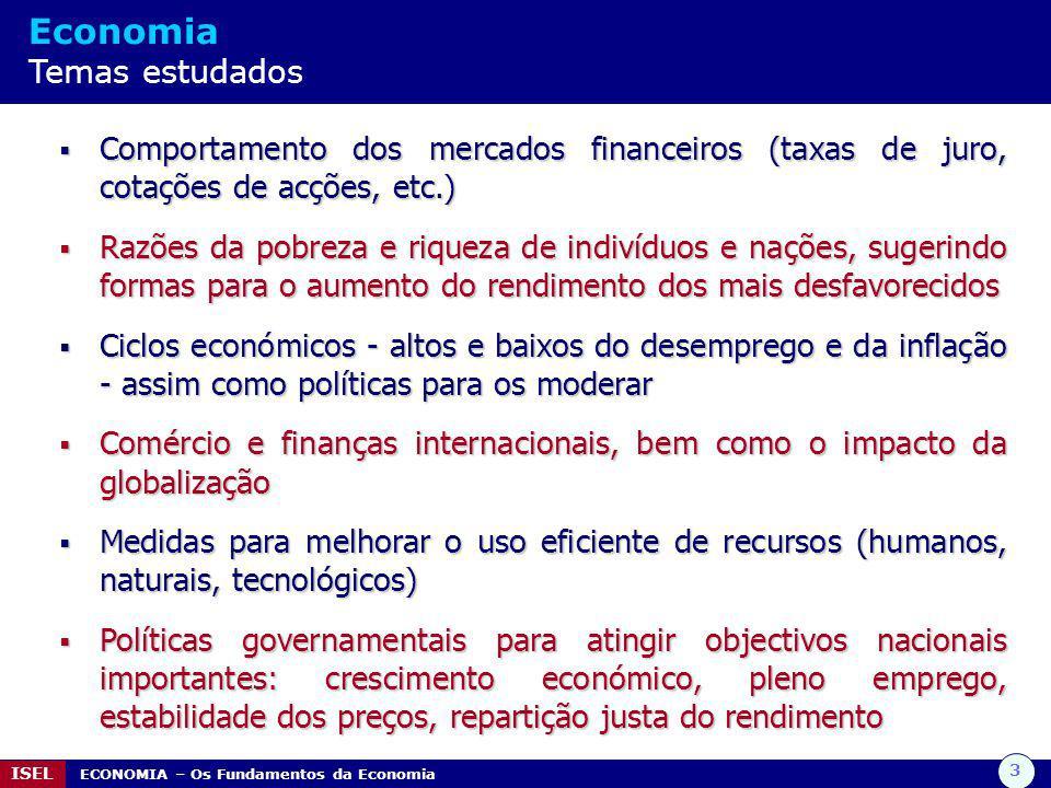 3 ISEL ECONOMIA – Os Fundamentos da Economia Economia Temas estudados  Comportamento dos mercados financeiros (taxas de juro, cotações de acções, etc