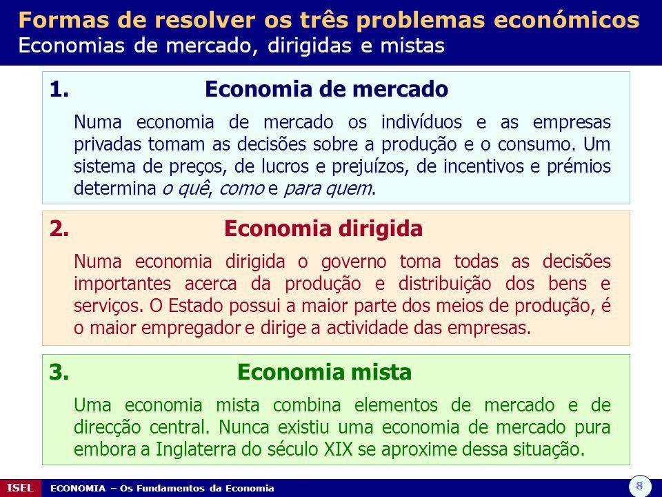 8 ISEL ECONOMIA – Os Fundamentos da Economia Formas de resolver os três problemas económicos Economias de mercado, dirigidas e mistas 1. Economia de m
