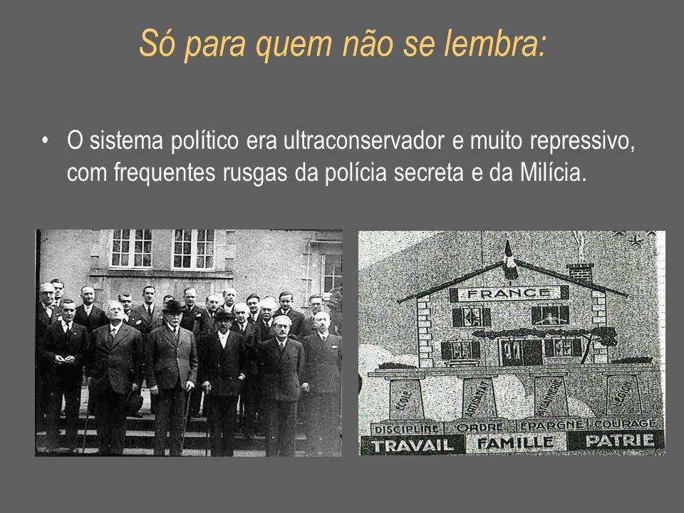 Só para quem não se lembra: •O sistema político era ultraconservador e muito repressivo, com frequentes rusgas da polícia secreta e da Milícia.