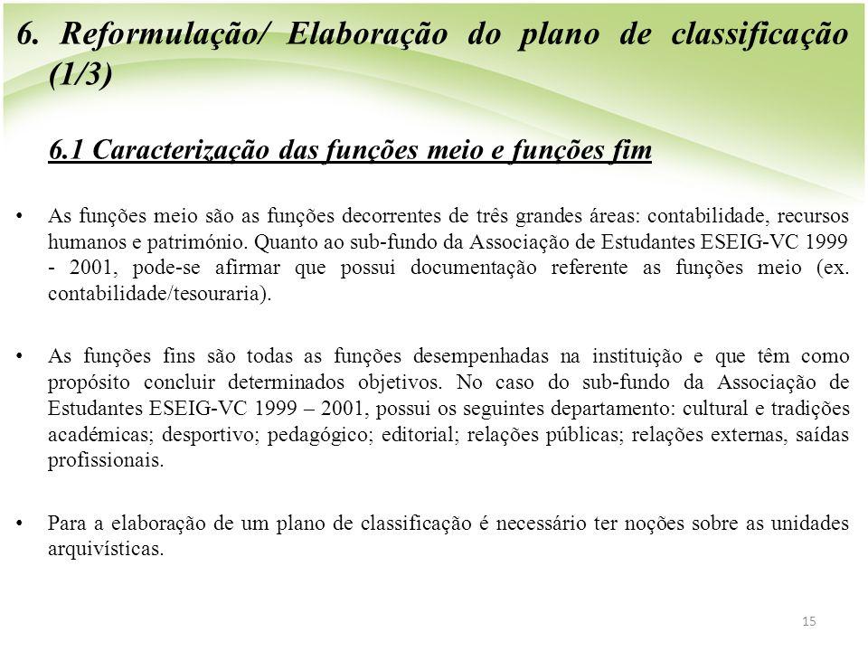 6. Reformulação/ Elaboração do plano de classificação (1/3) 6.1 Caracterização das funções meio e funções fim • As funções meio são as funções decorre