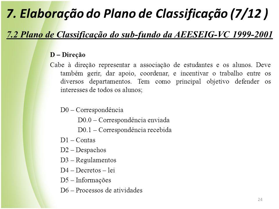 24 7.2 Plano de Classificação do sub-fundo da AEESEIG-VC 1999-2001 D – Direção Cabe à direção representar a associação de estudantes e os alunos. Deve