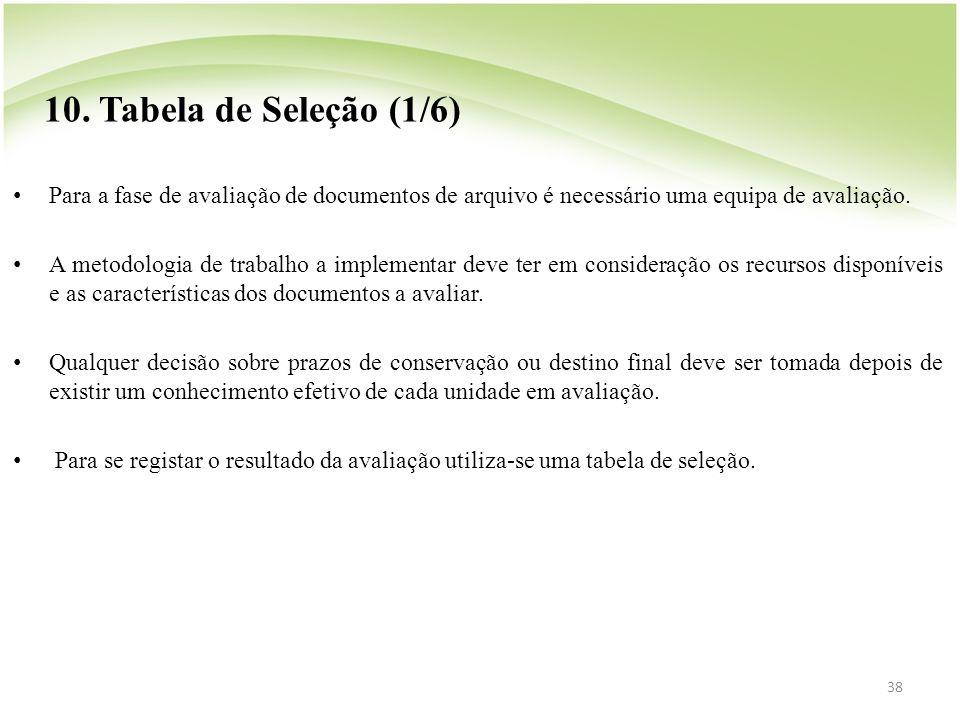38 10. Tabela de Seleção (1/6) • Para a fase de avaliação de documentos de arquivo é necessário uma equipa de avaliação. • A metodologia de trabalho a