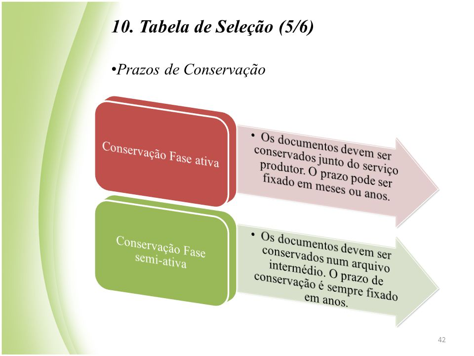 42 10. Tabela de Seleção (5/6) • Prazos de Conservação