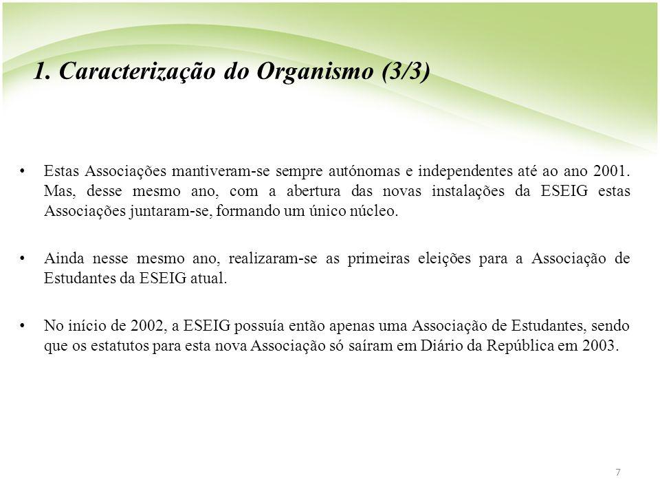 1. Caracterização do Organismo (3/3) • Estas Associações mantiveram-se sempre autónomas e independentes até ao ano 2001. Mas, desse mesmo ano, com a a