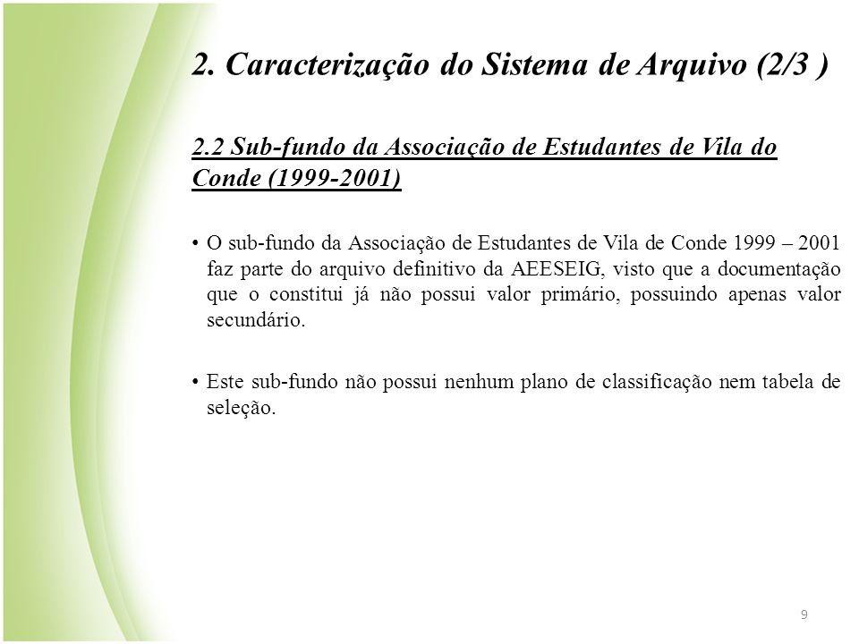 2. Caracterização do Sistema de Arquivo (2/3 ) 2.2 Sub-fundo da Associação de Estudantes de Vila do Conde (1999-2001) • O sub-fundo da Associação de E
