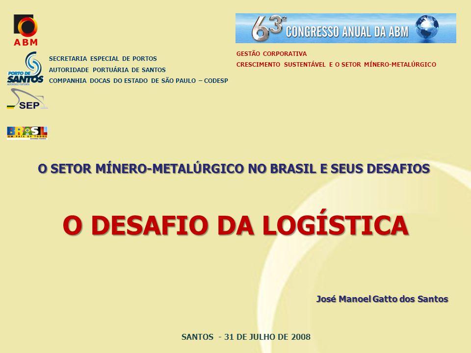 O DESAFIO DA LOGÍSTICA SECRETARIA ESPECIAL DE PORTOS AUTORIDADE PORTUÁRIA DE SANTOS COMPANHIA DOCAS DO ESTADO DE SÃO PAULO – CODESP José Manoel Gatto dos Santos O SETOR MÍNERO-METALÚRGICO NO BRASIL E SEUS DESAFIOS GESTÃO CORPORATIVA CRESCIMENTO SUSTENTÁVEL E O SETOR MÍNERO-METALÚRGICO SANTOS - 31 DE JULHO DE 2008