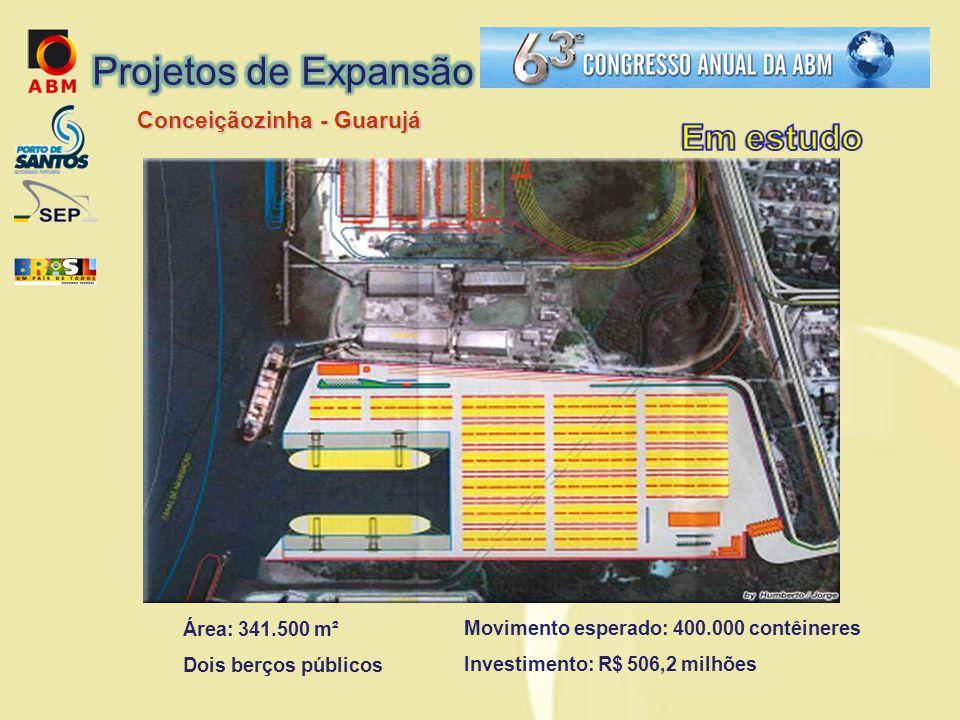 Movimento esperado: 400.000 contêineres Investimento: R$ 506,2 milhões Área: 341.500 m² Dois berços públicos Conceiçãozinha - Guarujá