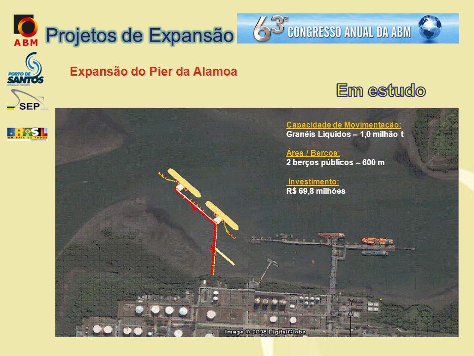 Expansão do Pier da Alamoa Capacidade de Movimentação: Granéis Líquidos – 1,0 milhão t Área / Berços: 2 berços públicos – 600 m Investimento: R$ 69,8 milhões