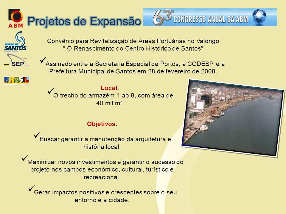Convênio para Revitalização de Áreas Portuárias no Valongo O Renascimento do Centro Histórico de Santos  Assinado entre a Secretaria Especial de Portos, a CODESP e a Prefeitura Municipal de Santos em 28 de fevereiro de 2008.