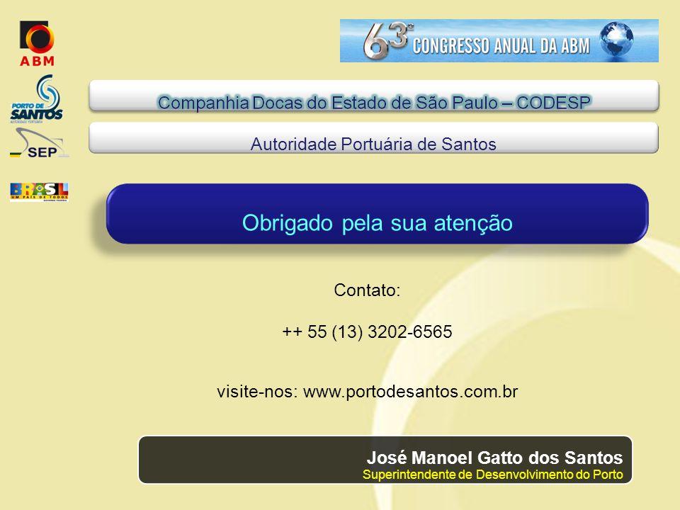 Contato: ++ 55 (13) 3202-6565 visite-nos: www.portodesantos.com.br Obrigado pela sua atenção Autoridade Portuária de Santos José Manoel Gatto dos Santos Superintendente de Desenvolvimento do Porto
