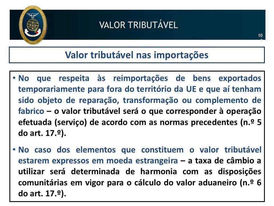 Valor tributável nas importações • No que respeita às reimportações de bens exportados temporariamente para fora do território da UE e que aí tenham s