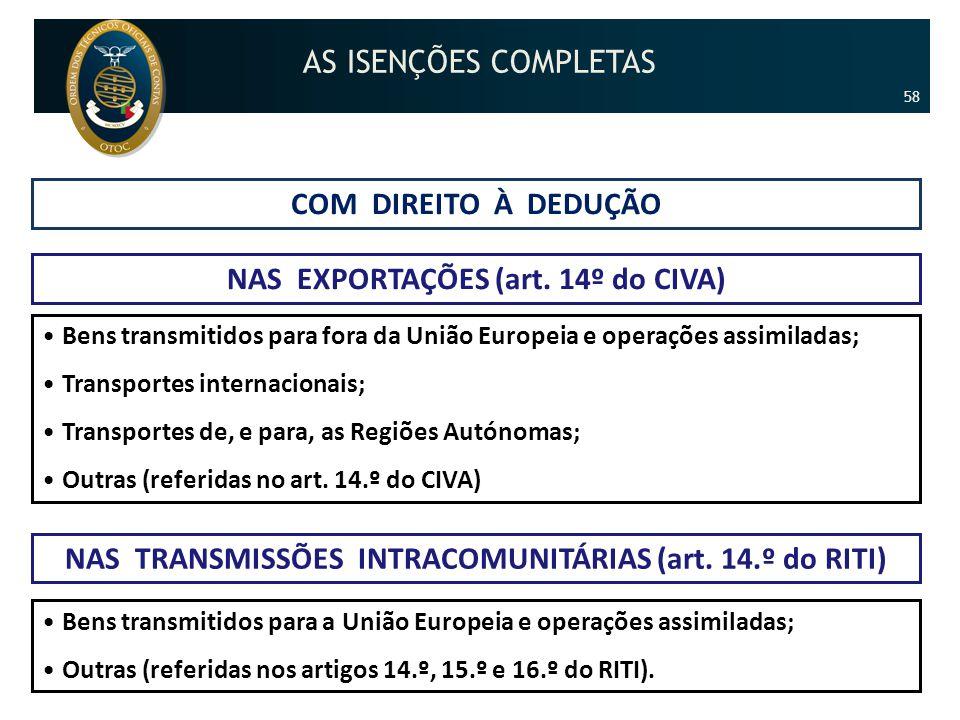 COM DIREITO À DEDUÇÃO NAS EXPORTAÇÕES (art. 14º do CIVA) •Bens transmitidos para fora da União Europeia e operações assimiladas; •Transportes internac