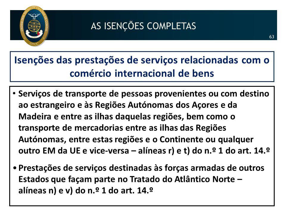 Isenções das prestações de serviços relacionadas com o comércio internacional de bens • Serviços de transporte de pessoas provenientes ou com destino