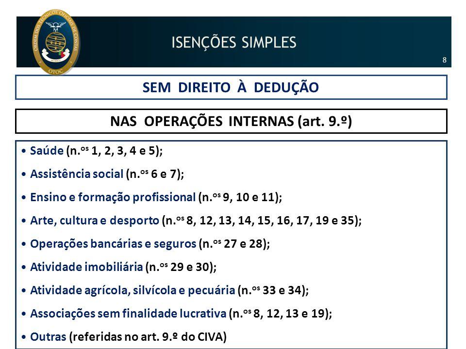 SEM DIREITO À DEDUÇÃO NAS OPERAÇÕES INTERNAS (art. 9.º) •Saúde (n. os 1, 2, 3, 4 e 5); •Assistência social (n. os 6 e 7); •Ensino e formação profissio