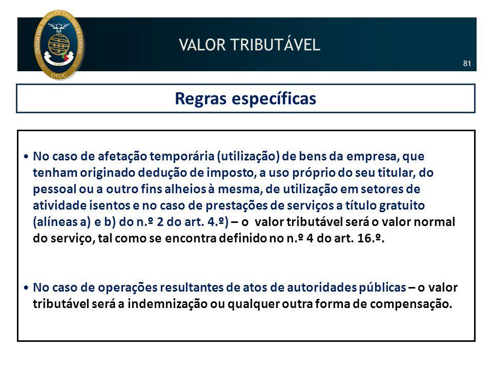 Regras específicas •No caso de afetação temporária (utilização) de bens da empresa, que tenham originado dedução de imposto, a uso próprio do seu titu