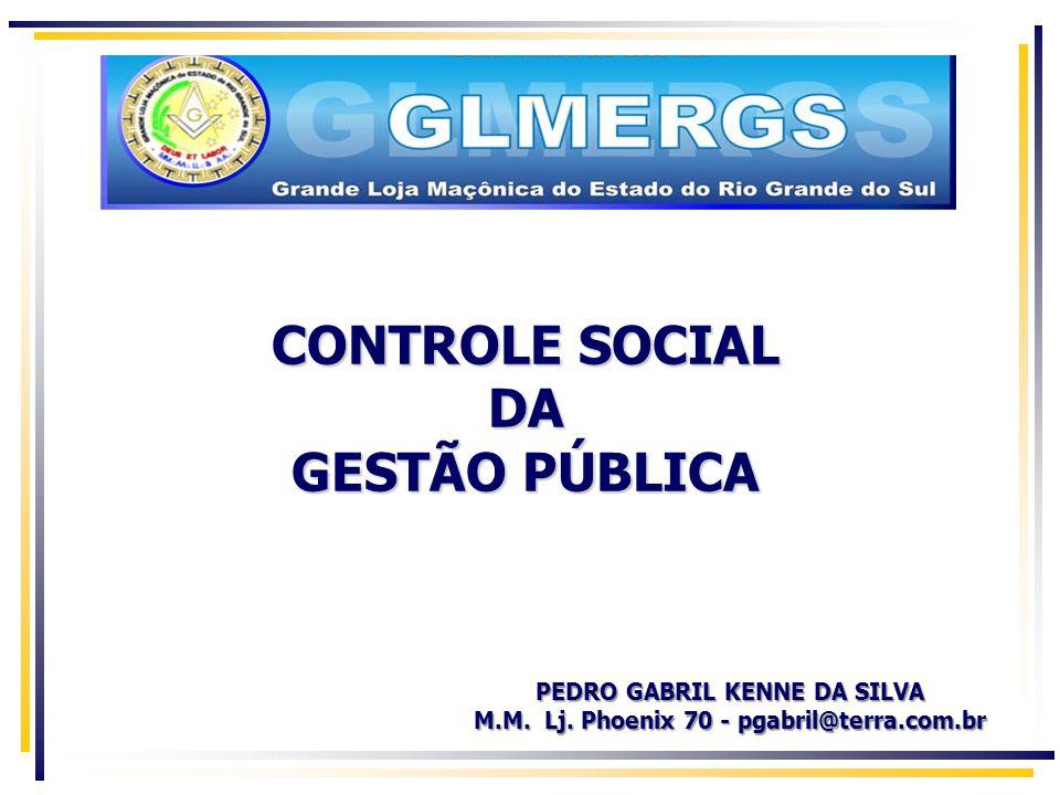 CONTROLE SOCIAL DA GESTÃO PÚBLICA PEDRO GABRIL KENNE DA SILVA M.M.