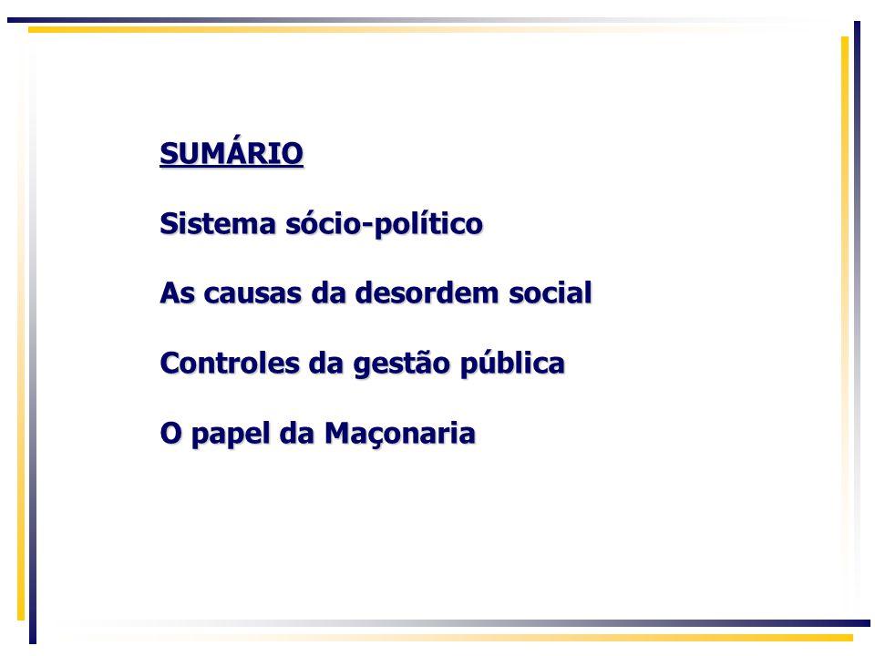 SUMÁRIO Sistema sócio-político As causas da desordem social Controles da gestão pública O papel da Maçonaria