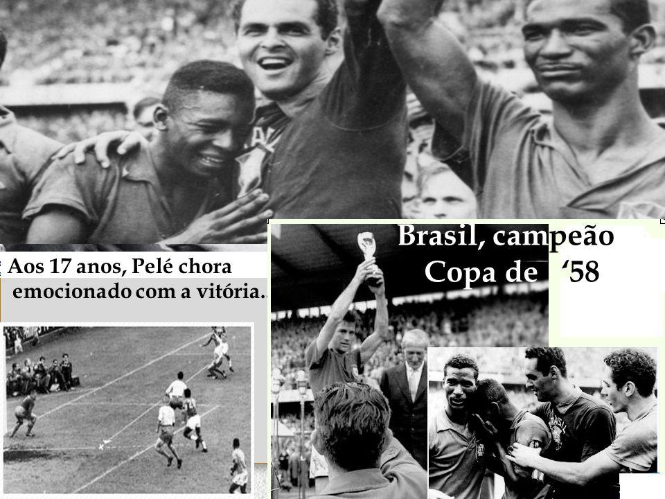 http://www.ub.edu/geocrit/b3w-373.htm Aos 17 anos, Pelé chora emocionado com a vitória... Brasil, campeão da Copa de '58