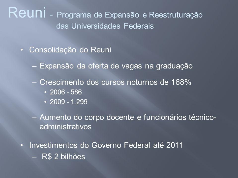 Reuni - Programa de Expansão e Reestruturação das Universidades Federais •Consolidação do Reuni –Expansão da oferta de vagas na graduação –Crescimento