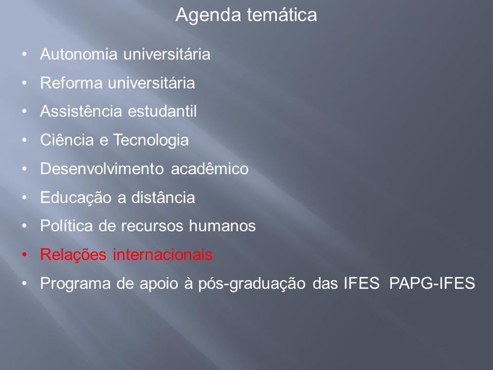 •Autonomia universitária •Reforma universitária •Assistência estudantil •Ciência e Tecnologia •Desenvolvimento acadêmico •Educação a distância •Políti