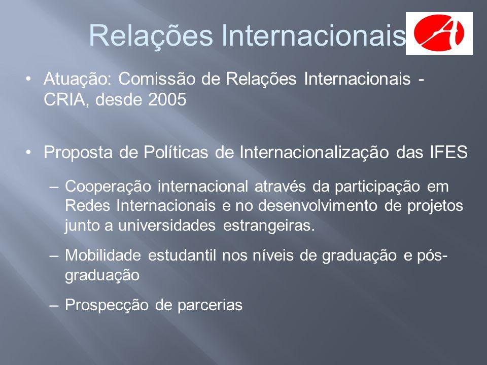 Relações Internacionais •Atuação: Comissão de Relações Internacionais - CRIA, desde 2005 •Proposta de Políticas de Internacionalização das IFES –Coope