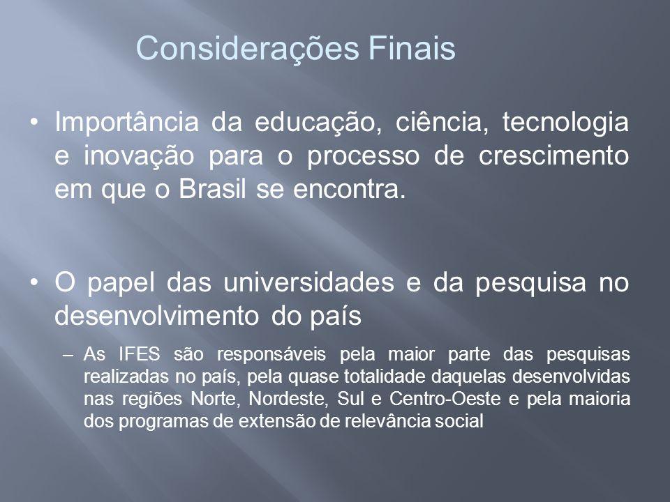 Considerações Finais •Importância da educação, ciência, tecnologia e inovação para o processo de crescimento em que o Brasil se encontra. •O papel das