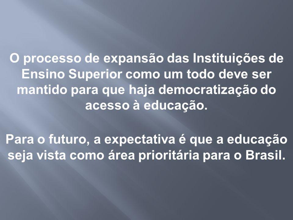 O processo de expansão das Instituições de Ensino Superior como um todo deve ser mantido para que haja democratização do acesso à educação. Para o fut