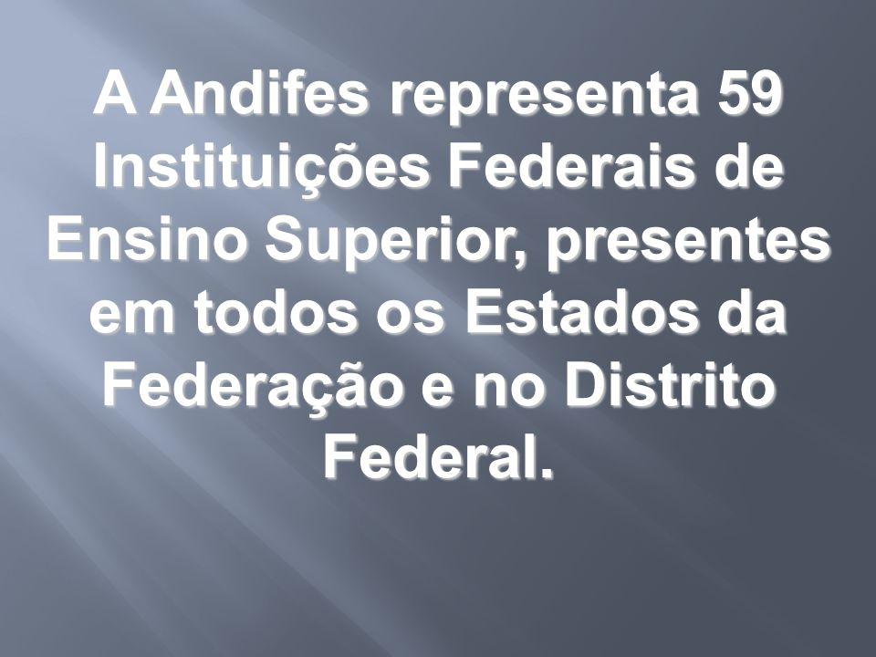 A Andifes representa 59 Instituições Federais de Ensino Superior, presentes em todos os Estados da Federação e no Distrito Federal.